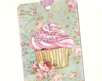 Tags, Cupcake, Gift Tags, Cupcake Tags, Party Favors, Birthday Tags, Roses