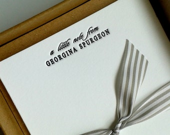 Personalised Name 'a little note from' Letterpress Notecards -  boxed set of 25 supplied with envelopes