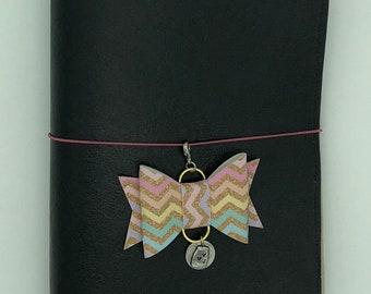 Gold Chevron Faux Leather Bow Planner Charm - tn charm, purse charm, planner charm, travelers notebook charm