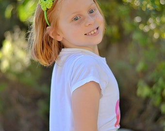 CLEARANCE Lime Green Headband Lime Headband Toddler Headband Toddler Girl Headband Crochet Flower Headband Spring Headband Summer Headband
