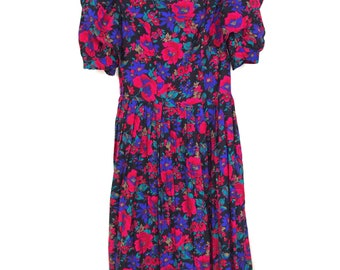 1980's Floral Puffy Sleeve Party Dress Pink, Purple Black and Green