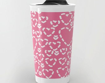 Hearts Ceramic Travel Mug With Lid - Coffee Mug - Pink and White Hearts Travel Mug - Travel Mug - Aldari Home