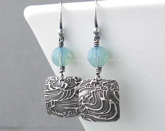 Beach Earrings Pacific Opal Crystal Earrings Pastel Jewelry Simple Silver Jewelry Modern Handmade Jewelry Crystal Jewelry  - Tracey