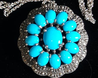 Sleeping Beauty Turquoise Sterling Pendant