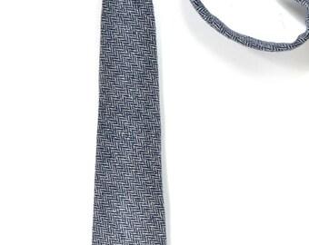 Mens Necktie blue herringbone Wool tie