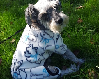 Warm Fleece Pet Pajamas Schnauzer Print