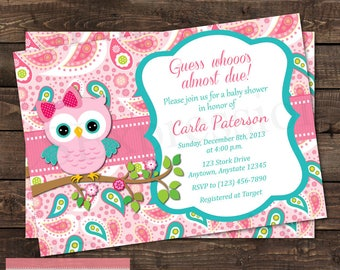 Pink and Teal Paisley Owl Baby Shower Invitation