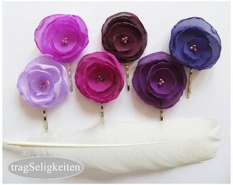 Flower hair pin, chiffon flower, hair flower pin, hair accessory, ballet accessories, ballet gift, purple