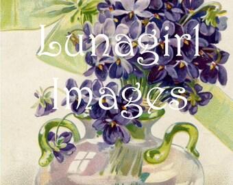 64 FLOWERS vintage images, VIOLETS lilacs pansies, Blue Purple, floral Victorian postcards, printables, digital art, ephemera cards DOWNLOAD