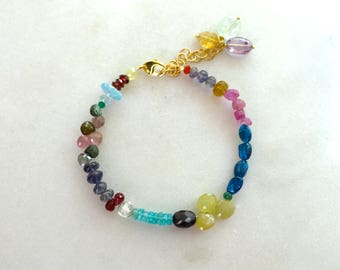 Fix Up, Look Sharp...Yellow Sapphire, Apatite Multi gemstone layering bracelet in 22kg vermeil