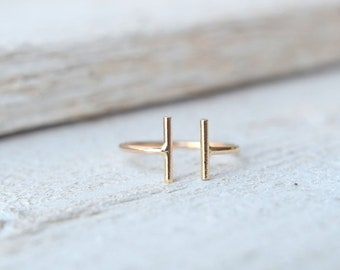 Double Bar Ring. Parallel Bar Ring, Minimalist Ring, Long Gold Bar Ring,Modern Ring,Two Bar Ring, Open Ring, Double Stick Ring