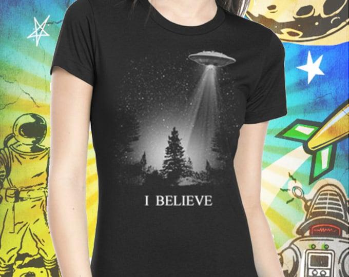 The X-Files / I Believe UFO / Women's Jet Black T-Shirt