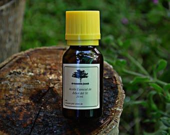 Aceite Esencial de Árbol del Té. Puro. 1ª Presión. 20 ml. Antiséptico, bactericida, analgésico, cicatrizante, ideal para problemas de acné.
