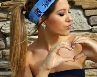 Rockabilly Headband KC Royals Wired Headband PIN UP Dolly Bow Fabric Headwrap Game Day Kansas City baseball team Bandana
