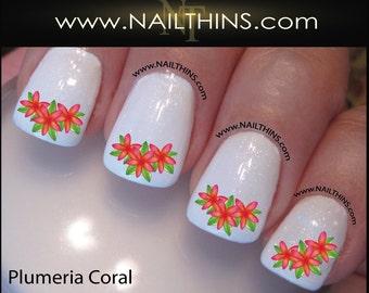 Coral Plumeria Nail Decal Hawiian Flower Plumeria Nail Nail Designs NAILTHINS