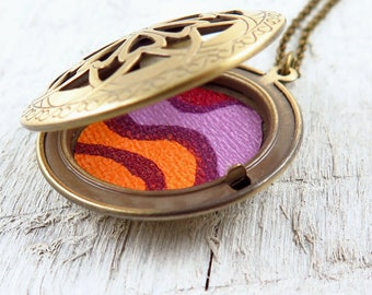 Floral Locket Necklace, Vintage Wallpaper Print, Orange and Purple, Filigree Locket, Locket Pendant, Gift for Her