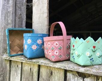 Vintage Swedish basket set Handmade Scandinavian wicker basket Painted floral basket set