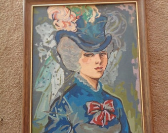 "Vintage Paint by Number "" Potrait of a Young Woman"" FRAMED"