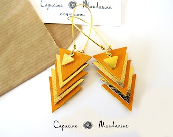 Triangle - Golden saffron yellow leather earrings