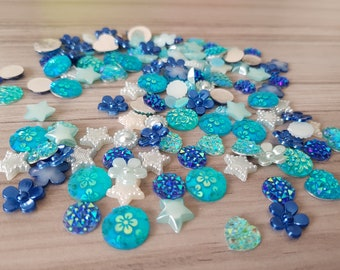 Set of mixed random rhinestones and flatback resins embellishments for scrapbooking, cardmaking BLUE