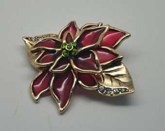 U3: Interesting Red Semi-Transparent Molded Plastic Lucite and Rhinestone Christmas Poinsettia Brooch--signed LC
