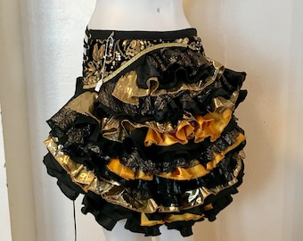 Ruffle Bustle gold black metallic Burning Man Tutu Pixie Fairy Costume Steampunk Edwardian Victorian Gypsy Burlesque Renaissance goth
