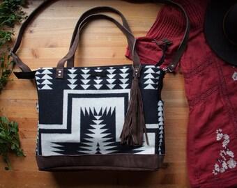 Southwest Diaper Bag in Pendleton Wool, Bohemian Tote, Unisex Diaper Bag, Mercy Grey Bag, Gender Neutral Diaper Bag, backpack tote