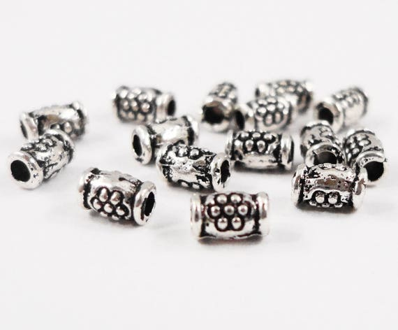 Silver Tube Beads 2x4mm Antique Silver Metal Beads, Silver Flower Beads, Small Silver Spacer Beads, Beading Supplies, 100 Loose Beads