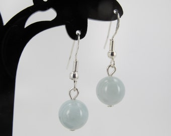 Aquamarine earrring. Genuine aquamarine drop earrings. Sterling silver. Gift for her