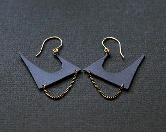 Big black earrings unusual earrings edgy earrings unique statement earrings for women large earrings gold matte modern bold - Zoe Earrings