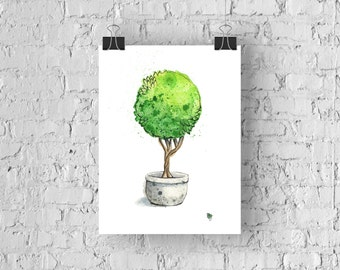 Hand Painted Abstract Watercolor Topiary - Giclée Print of My Original Watercolor Painting