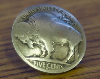 Buffalo Nickel Button-Geniune Coin Button Snap Set