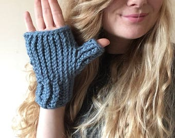 The Sawyer Wristwarmers: Acrylic // Hand Knit Wristwarmers // Super Chunky Vegan Yarn // Women's Gloves