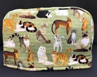 Cats on Sage Reversible 2-Slice Toaster Cover