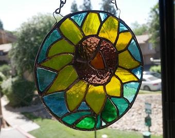 Bright Sky Blue Sunflower Stained Glass Sun Catcher