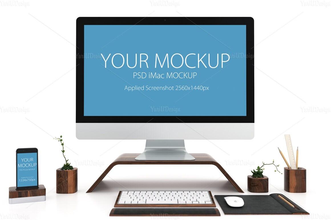 1 PSD iMac and iPhone Mockup computer screen design imac