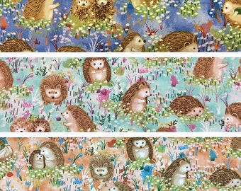 100 percent cotton fabric, adorable hedgehogs. Three colors available. Price is per Fat Quarter.
