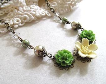 Country Bridesmaid Necklace, Vintage Necklace, Country Garden Wedding Jewelry, Summer Wedding, Bridesmaid Necklace, Custom Bridal Jewelry