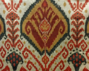 Two  20 x 20 Custom Pillow Covers - Large Ikat - Orange/Red/Green