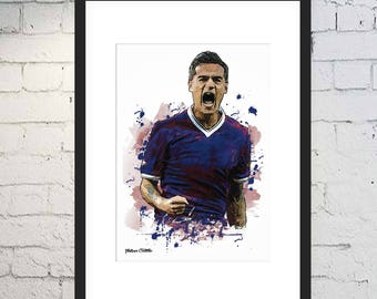 Philippe Coutinho Illustration Print / Digital Art / FCB Print / Framed Artwork / Brazil / FC Barcelona / Coutinho Poster / Camp Nou