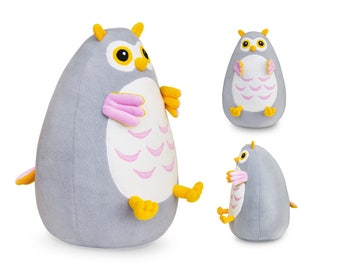 Fatty Owl stuffed toy | Plush Owl baby grey and yellow | Stuffed owl plush toy | Owl stuff for babies | Funny Owl plushie