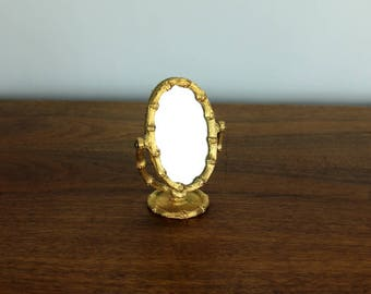 Vintage Gold Faux Bamboo Pin Cushion Mirror Hollywood Regency Mid Century Makeup 60's Vanity Sewing Craft
