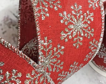"25 Feet x 2.5"" Wired Christmas Ribbon Red with Silver Snowflakes"