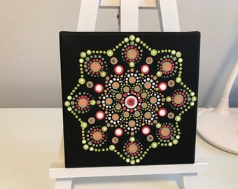 Dot art, mandala, acrylic , canvas, boho design, swarovski crystals