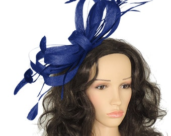 Royal Blue Christine Fascinator Hat for Weddings, Races, and Special Events With Headband