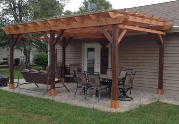 Covered Pergola Plans 12x24' Outside Patio Wood Design