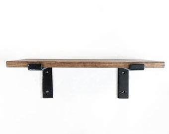 Modern Industrial Wood Shelves - Minimalist - Farmhouse Modern - Iron