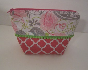 Cosmetic Bag, Zippered Pouch, Makeup Bag, by LBs Sewing Sanity