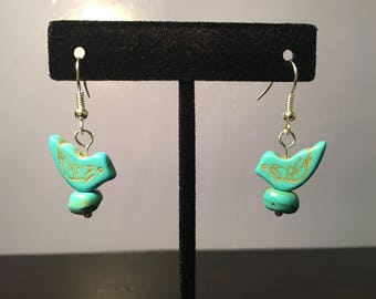 Turquoise Stone Bird on Nest Earrings
