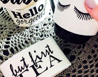 Cozy mug, quote cosy mug, positive quote, coffee cozy, coffee sleeve, mug, motivating mug, christmas gift, blogger gift
